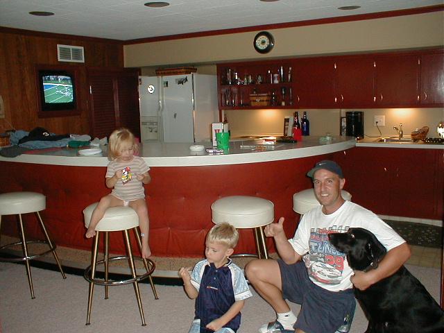 mid-century modern basement before